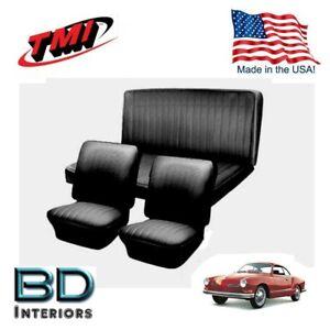 1961 - 1965 VW Volkswagen Karmann Ghia Seat Upholstery Black Front & Rear Set