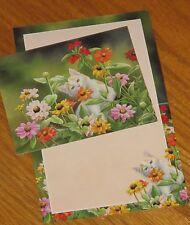 Susan Bourdet Art - Please Don't Eat The Zinnias cat flowers Lang Note Cards 6ct
