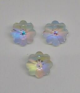3pc Swarovski Crystal Clear AB 14mm Vintage Daisy 5110 Bead; CLEARANCE