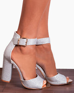 Silver Shimmer Glitter Ankle Strap Block High Strappy Sandals Heels Size Shoe