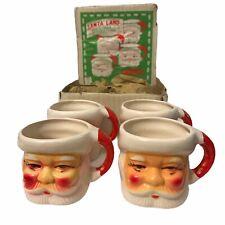 "4 Vintage SantaLand Christmas Decorations Mug Ceramic Cup 3"" Tall Orig Box JAPAN"