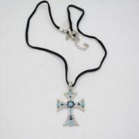 Lia Sophia jewelry silver tone blue cut crystals cross pendant leather chain