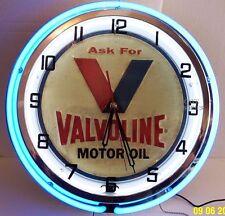 "18"" VALVOLINE Motor Oil Sign Double Neon Clock"