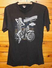 Harley Davidson Bahamas Nassau Black Graphic T-Shirt Medium Girl With Bike +