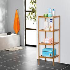 4 Bathroom Space Saver Tower Shelf Bamboo  Corner Storage Organizer Shelves Unit