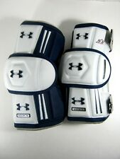Under Armour Lacrosse Arm Pads Player White and Navy Blue Mens L Protective Gear