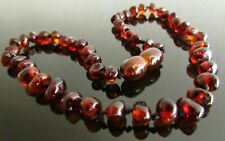 32-33 cm Genuine  Baltic Amber Necklace Ruby Colour, Beads Knotted
