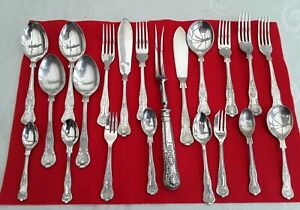 KINGS PATTERN Sheffield England Silver Plate Part Mix Cutlery Set 21 Piece...
