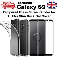 Ultra Thin Clear TPU Gel Case Cover & Tempered Glass For Samsung Galaxy S9