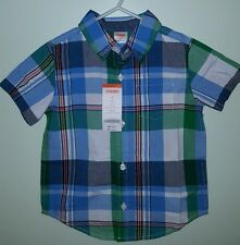 NWT Gymboree Boys 2T Short Sleeve Button Down Shirt PLAID Blue Green  #3421016