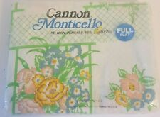 Vintage Cannon Monticello Window Garden Green White Floral Full Flat Sheet New