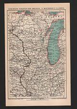 Landkarte map 1896: VEREINIGTE STAATEN VON AMERIKA, WISCONSIN, ILLINOIS - U.S.A.