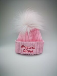 personalised baby  LARGE POM  fur beanie embroidered hat new 2020