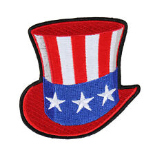 Uncle Sam Hat  EMBROIDERED 3 INCH IRON ON MC BIKER  PATCH