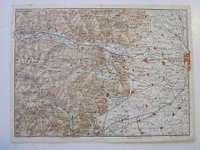 stampa antica MAPPA TORINO PINEROLO SUSA BUSSOLENO CASELLE RIVOLI CUMIANA 1914