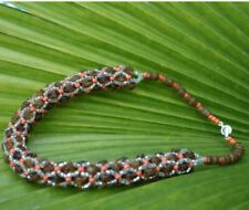 Orange and Silver seedbeads Necklace African Brown Krobo Beads and