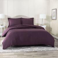 Duvet Cover Set Soft Brushed Comforter Cover W/Pillow Sham, Eggplant - Queen