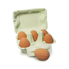 Egg Crate with 6 Bouncy Rubber Toy Eggs, Toy Eggs, Pretend Play Food