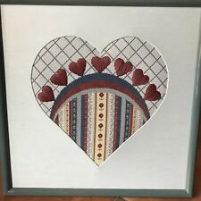 Needlepoint Heart Framed Handcrafted Blue Maroon