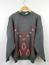 I24 Vtg Ferry Wool Grey Christmas Ugly Sweater Nordic Cardigan Knit Crew Size L