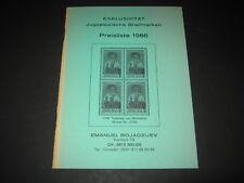 Jugoslawische Briefmarken Preisliste 1986