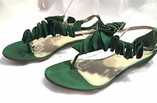 ZARA Ruffled Green Suede 100% Leather Flats T-Strap Sandals EUR 41/US 10