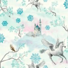 GIRLS ICE BLUE  SILVER GLITTER SPARKLE HORSE HORSES FAIRYTALE WALLPAPER 667800