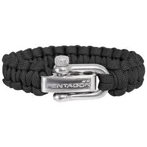 Pentagon Survival Bracelet Tactical Army Paracord Wrist Band Metal Buckle Black