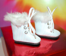 BJD 1/6  white fur trimmed Boots MSD White  High Boots Female