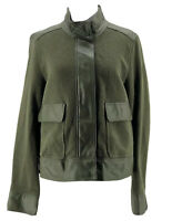 Who What Wear Women's Green Knit Faux Trim Long Sleeve Jacket Size Large NEW