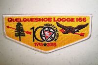 QUELQUESHOE LODGE 166 PATCH WHITE BDR 2015 100TH ANN OA CENTENNIAL FLAP 400 MADE