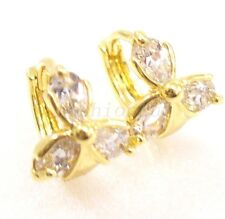 Women Girl New 14K Yellow Gold Plated Small Flower Clear CZ Cubic Hoop Earrings