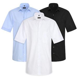 ETERNA Herren Kurzarm Hemd Modern & Comfort Fit weiß blau & schwarz