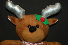 "KELLY TOY CHRISTMAS REINDEER SILVER ANTLERS 10"" PLUSH STUFFED ANIMAL LOVEY HOLLY"