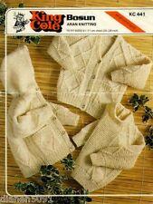 Aran Knitting Patterns Baby Hooded Sweater Jacket Cardigan 3 Styles & 5 Sizes
