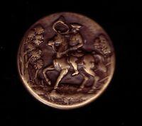 pin's relief 3D en metal Bronze vieiili Chasse hunting Corner TW&W cheval horse