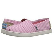 TOMS Kid's Classic Pink Gingham Slip-On Shoe  Size:  Youth 3.5
