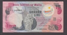 Malta banknote P. 36a-8366 10 Pounds Pfx C/4 staple holes, tear at ctr top, VF