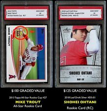 $225 SHOHEI OHTANI & MIKE TROUT TOPPS 1ST GRADED 10 ROOKIE CARD LOT ANGELS Otani