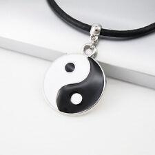 Black White Alloy Tai Chi Yin Yang Pendant 3mm Black Leather Tribal Necklace NEW