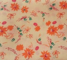 "33"" Orange on Yellow Floral Print Fabric Pre-Washed Poly / Cotton Blend"