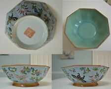 Oriental Vintage Turquoise Blue & Green Butterfly Bowl Stamped Marked RARE NICE!
