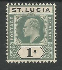 ST LUCIA SG74 THE 1905 EVII 1/- GREEN&BLACK FRESH MINT POSSIBLY MNH CAT £50