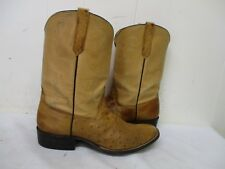 RYON'S Fort Worth Tan Ostrich Leather Cowboy Boots Mens Size 11 D Style 8469D