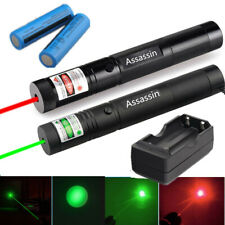 2Pc Red + Green Laser Pointer Pen High Power Visible Beam Rechargeable Lazer New