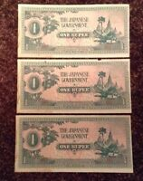 Lot Of 3 X Japanese Government Banknotes. 1 Rupee. Invasion Of Burma. 1942.