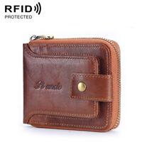 Men's 100% Cowhide Leather Zipper Wallet RFID Blocking Card Holder Coin Purse