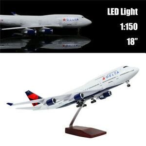 "18""(46cm)1:130 Airplane Model Delta Boeing 747 with LED Light for Business Gift"
