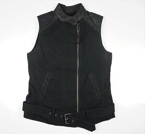 Lucky Brand Women's Moto Biker Vest Black Goat Leather & Cotton Zip Up Belted S