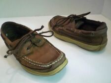 """Sperry Top-Sider """"Lanyard"""" Sz 1 M Youth Brown Leather Boat Deck/Dock Shoes"""